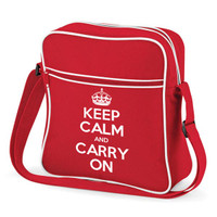 KEEP CALM AND CARRY ON FLIGHT BAG RED