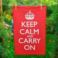 Keep Calm & Carry On Red Tea Towel