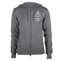 Keep Calm and Carry On Mens Charcoal & White Zipped Hooded Top