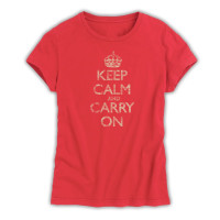 Keep Calm & Carry On Ladies Red Distressed T-Shirt