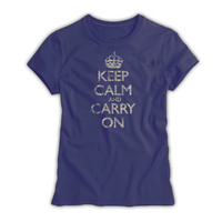 Keep Calm & Carry On Ladies Navy Blue Distressed T-Shirt