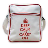 Keep Calm & Carry On White Retro Flight Bag