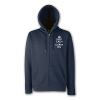 Keep Calm and Carry On Mens Navy Blue & White Zipped Hooded Top