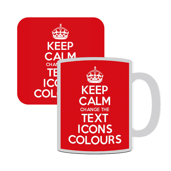 KEEP CALM AND CARRY ON CUSTOMISED MUG AND COASTER