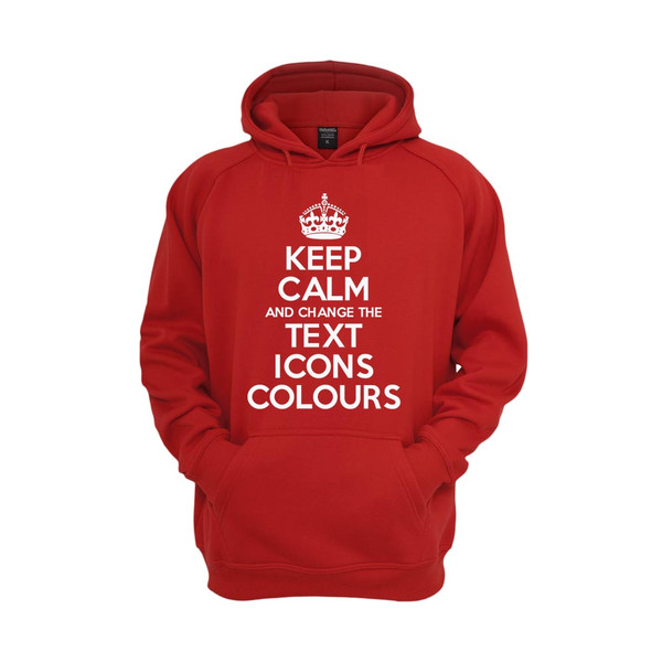 KEEP CALM AND CARRY ON CUSTOMISED HOODED TOP