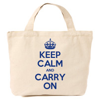 Keep Calm & Carry On Canvas Tote Shopping Bag Navy Blue Print