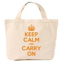 Keep Calm & Carry On Canvas Tote Shopping Bag Orange Print
