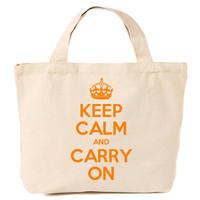Keep Calm & Carry On Canvas Tote Shopping Bag Orange Print