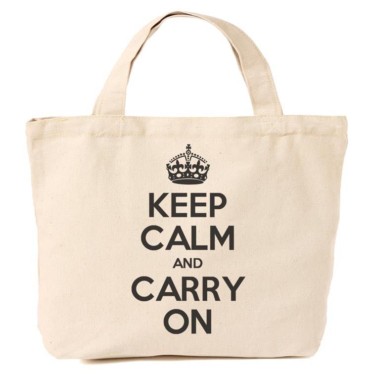 Canvas / Orange Tote Shopping bag - Keep Calm and Carry On