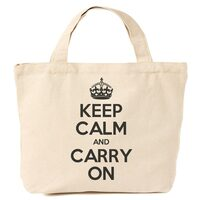 Keep Calm & Carry On Canvas Tote Shopping Bag Black Print