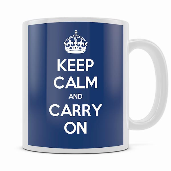 KEEP CALM AND CARRY ON NAVY BLUE MUG