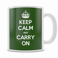 KEEP CALM AND CARRY ON DARK GREEN MUG