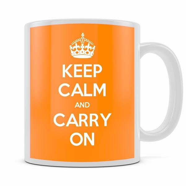 KEEP CALM AND CARRY ON ORANGE MUG