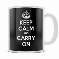 KEEP CALM AND CARRY ON BLACK MUG
