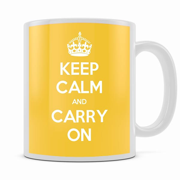 KEEP CALM AND CARRY ON YELLOW MUG