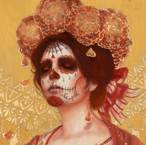 "Hand-Embellished ""Marigold Catrina"" -SOLD OUT"