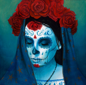 "Hand-Embellished ""Catrina, Sueño Azul"" - SOLD OUT"