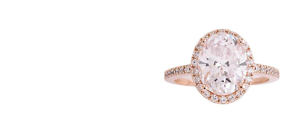 estate style cubic zirconia halo rings