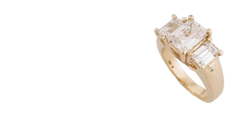 cubic zirconia three stone rings