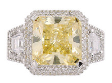 14Kt White Gold Princess Cut Canary Halo Setting