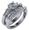 Highest Quality Cubic Zirconia Engagement Ring & Matching Band in Solid 14 Karat White Gold