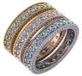Stunning Cubic Zirconia Bridal Bands in Solid 14 Karat White, Yellow or Pink Gold