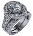 Flawless 1 Carat Oval Cubic Zirconia Halo Engagement Set