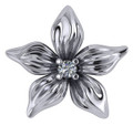Solid 14 Karat White Gold Flower Necklace