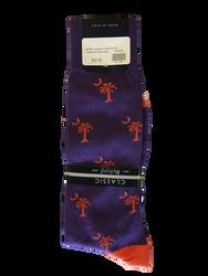 Byford Palmetto Socks - Orange on Purple