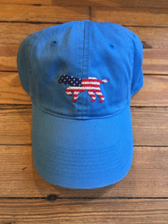 Smathers and Branson Needlepoint Hat - Patriotic Dog on Point (Royal)