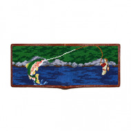 Smathers and Branson Fly Fishing Scene Needlepoint Bi-Fold Wallet
