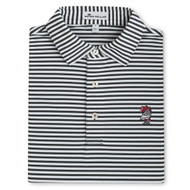 Peter Millar Vault Logo USC Touchown Stripe Mesh Polo - Black