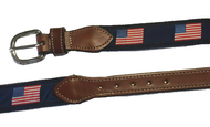 American Flag Leather Tab Belt - Silver Buckle