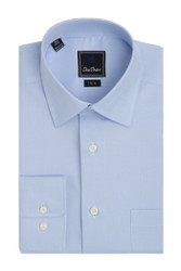 David Donahue Super Fine Twill Pocket Barrel Cuff Trim Fit Dress Shirt - Blue
