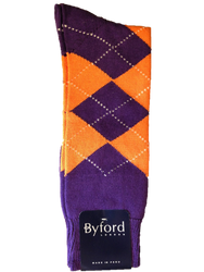 Byford Argyle Socks - Purple/Orange/White