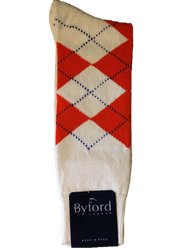 Byford Argyle Socks - Ivory/Purple/White