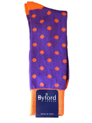 Byford Dot Socks - Purple with Orange Dots
