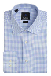 David Donahue Crows Foot Weave Check Barrel Cuff Trim Fit Dress Shirt