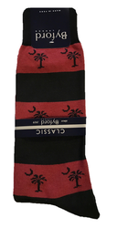 Byford Palmetto Stripe Socks - Garnet/Black