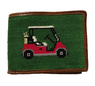 Smathers and Branson Golf Cart Needlepoint Wallet - Forest
