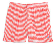 Southern Tide Performance Stripe Knit Boxers - Hot Coral