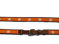 Clemson Classic Canvas Belt with Leather Tab