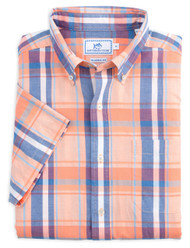 Southern Tide South Lake Plaid Short Sleeve Sport Shirt - Fusion Coral