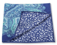 R Hanauer Cotton Reversible Pocket Square - Blue