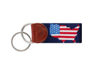 Smathers and Branson Needlepoint Key Fob - USA Map