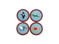 Smathers and Branson Needlepoint Coasters - Party Animals