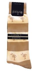 Byford Palmetto Stripe Socks - Ivory/Khaki