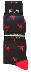 Byford Palmetto Socks Contrast Toe and Heel- Marine/Red