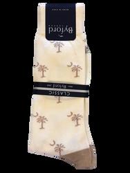 Byford Palmetto Socks Contrast Toe and Heel - Ivory/Khaki
