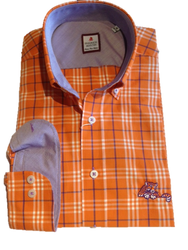 "Clemson Orange Plaid Sport Shirt - ""Laying Tiger"" Logo"